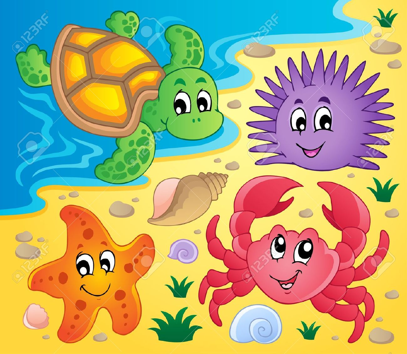 http://previews.123rf.com/images/clairev/clairev1302/clairev130200024/17794353-Beach-with-shells-and-sea-animals-3--Stock-Vector-starfish-cartoon-sea.jpg