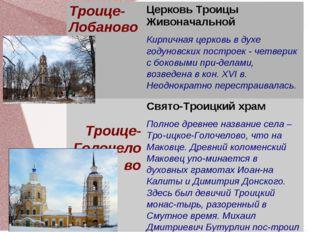 Троице-ЛобановоЦерковь Троицы Живоначальной Кирпичная церковь в духе годунов