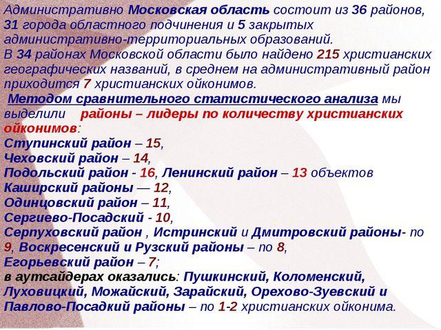 Административно Московская область состоит из 36 районов, 31 города областног...