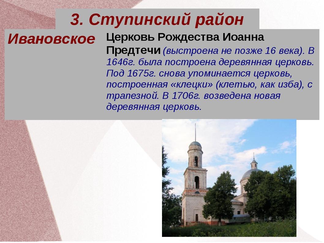 ИвановскоеЦерковь Рождества Иоанна Предтечи (выстроена не позже 16 века). В...