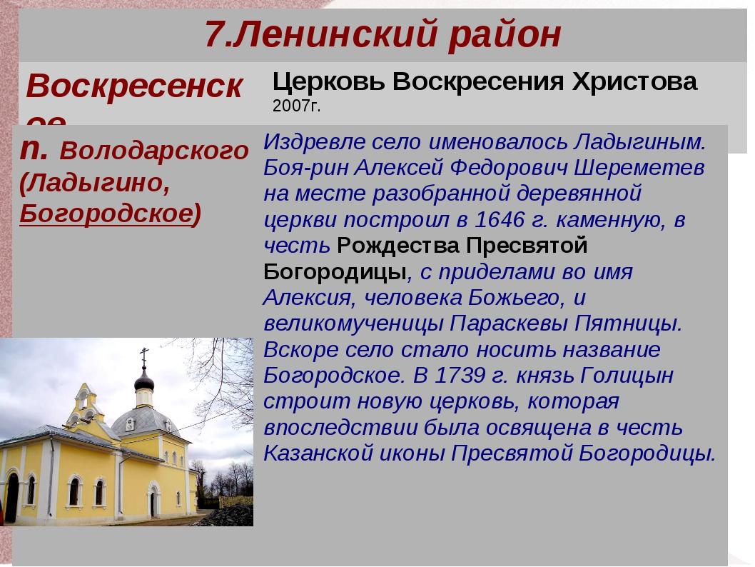 7.Ленинский район ВоскресенскоеЦерковь Воскресения Христова 2007г. п. Волод...