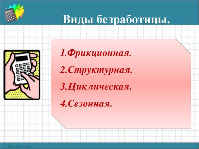 Виды безработицы. 1.Фрикционная. 2.Структурная. 3.Циклическая. 4.Сезонная.