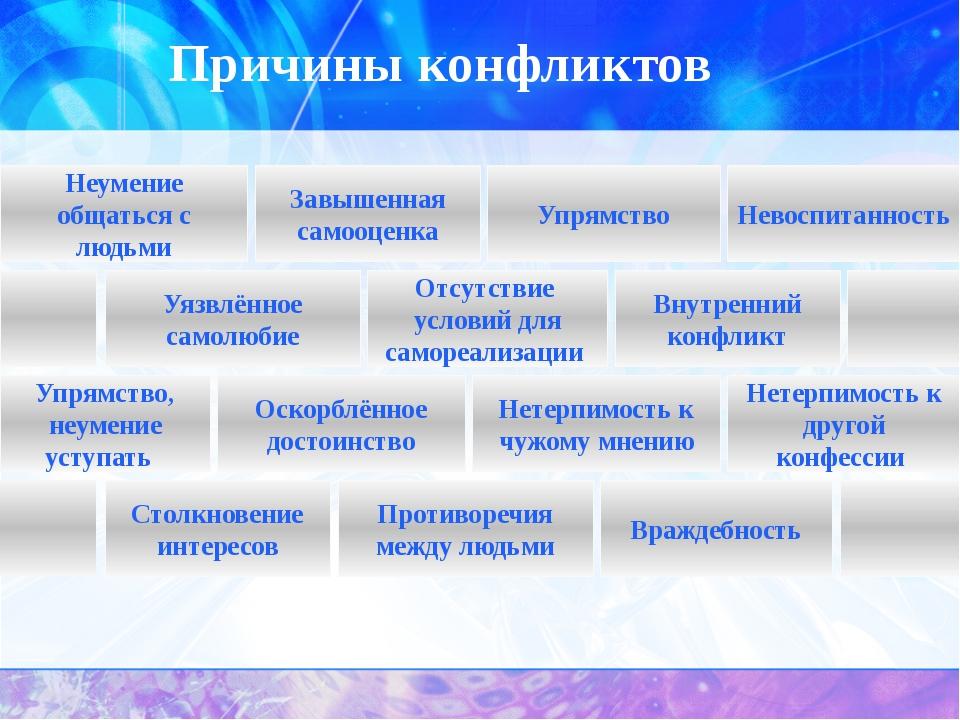 Причины конфликтов Столкновение интересов Противоречия между людьми Враждебно...