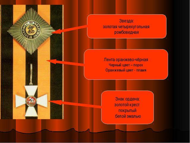 Знак ордена: золотой крест покрытый белой эмалью Звезда: золотая четырехуголь...