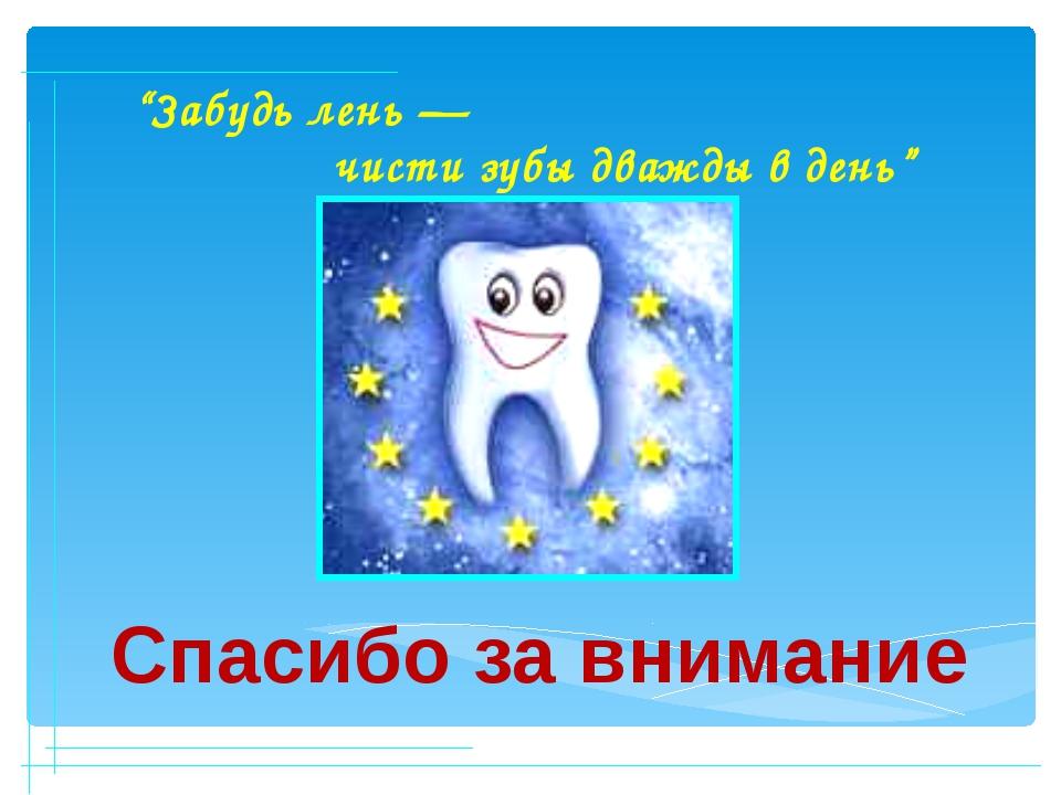 """""""Забудь лень — чисти зубы дважды в день"""" Спасибо за внимание"""