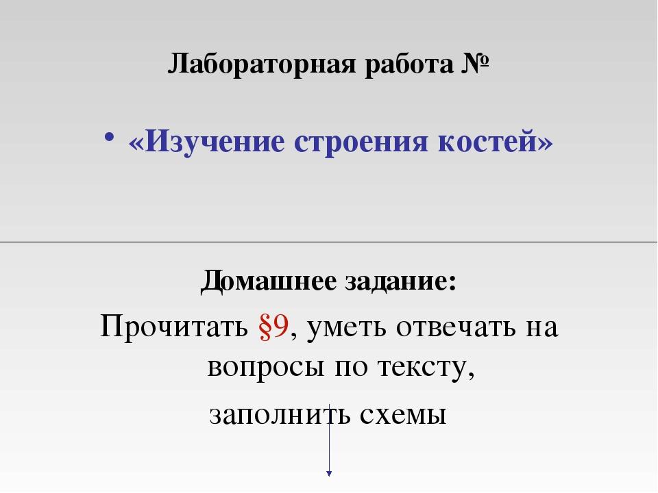 Лабораторная работа № «Изучение строения костей» Домашнее задание: Прочитать...