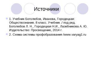 Источники 1. Учебник Боголюбов, Иванова, Городецкая: Обществознание. 8 класс.