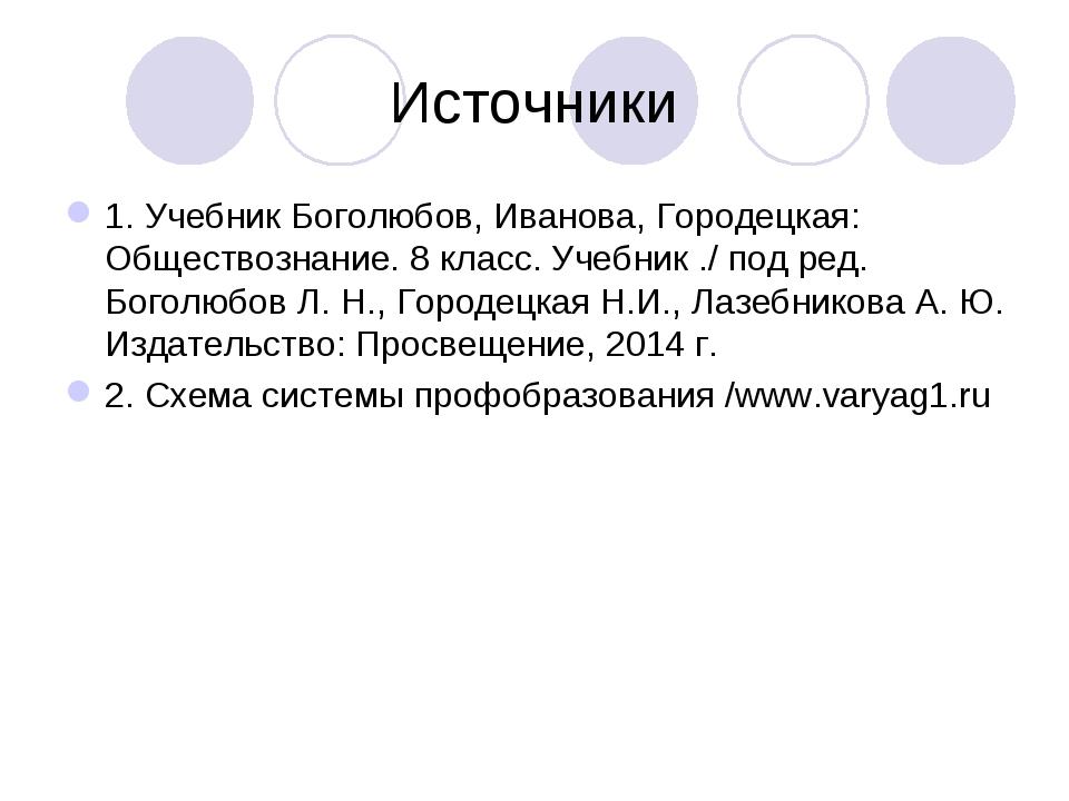 Источники 1. Учебник Боголюбов, Иванова, Городецкая: Обществознание. 8 класс....
