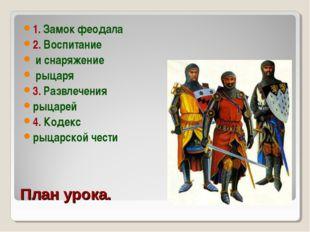 План урока. 1. Замок феодала 2. Воспитание и снаряжение рыцаря 3. Развлечения