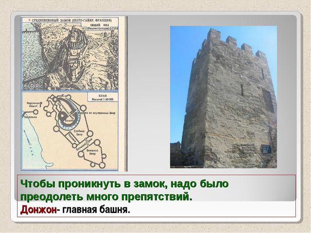 Чтобы проникнуть в замок, надо было преодолеть много препятствий. Донжон- гла...