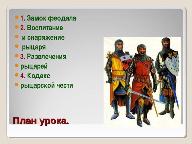План урока. 1. Замок феодала 2. Воспитание и снаряжение рыцаря 3. Развлечения...