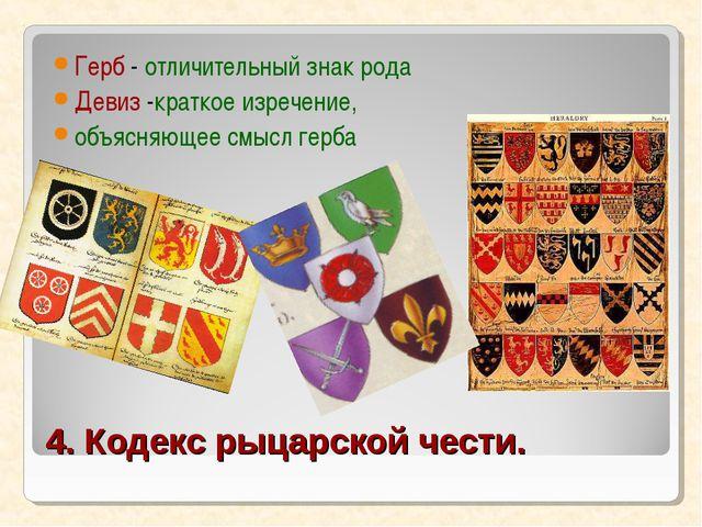 4. Кодекс рыцарской чести. Герб - отличительный знак рода Девиз -краткое изре...