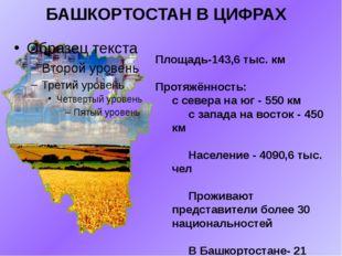 БАШКОРТОСТАН В ЦИФРАХ Площадь-143,6 тыс. км Протяжённость: с севера на юг - 5