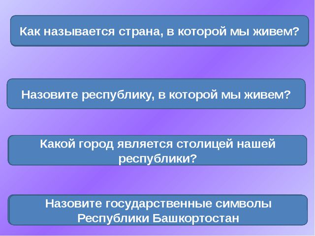 Россия Как называется страна, в которой мы живем? Башкортостан Назовите респу...