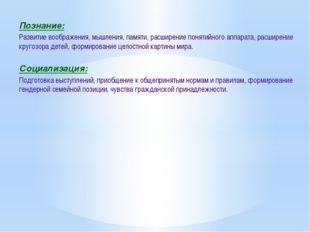 Познание: Развитие воображения, мышления, памяти, расширение понятийного аппа