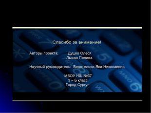 Авторы проекта: Душко Олеся Лысюк Полина Научный руководитель: Белотелова Ян