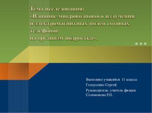 Выполнил учащийся 11 класса Голоусенко Сергей Руководитель: учитель физики Со