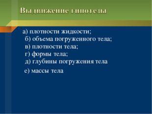 а) плотности жидкости; б) объема погруженного тела; в) плотности тела; г) фо