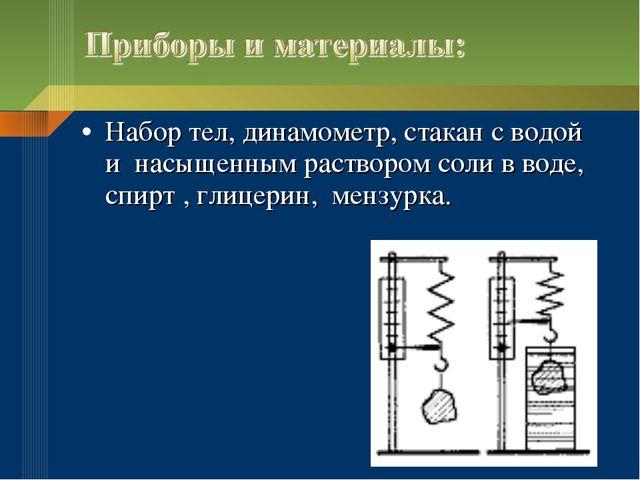 Набор тел, динамометр, стакан с водой и насыщенным раствором соли в воде, спи...