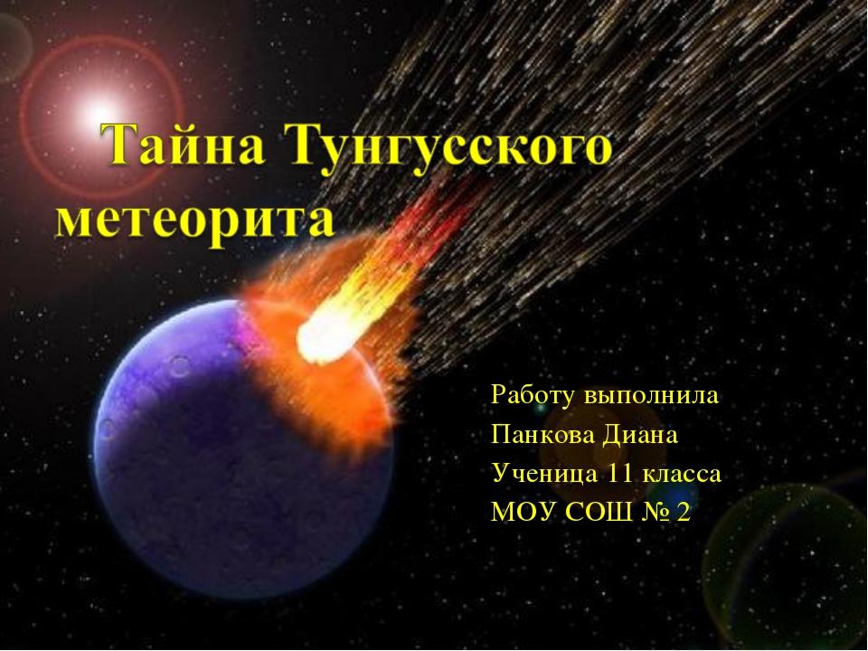 Работу выполнила Панкова Диана Ученица 11 класса МОУ СОШ № 2