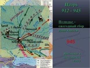 Игорь 912 - 945 Полюдье – ежегодный сбор дани князем 945 Восстание в древлянс