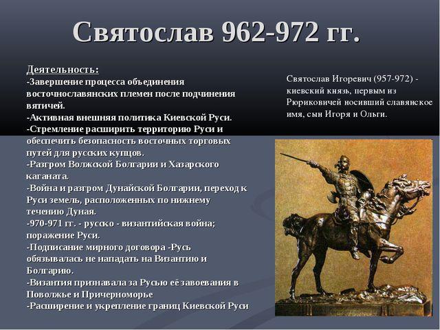 Святослав 962-972 гг. Деятельность: -Завершение процесса объединения восточно...