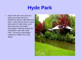 Hyde Park Hyde Park was once part of a wild and ancient forest, in habited by