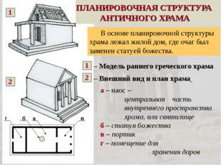 ПЛАНИРОВОЧНАЯ СТРУКТУРА АНТИЧНОГО ХРАМА – Модель раннего греческого храма – В