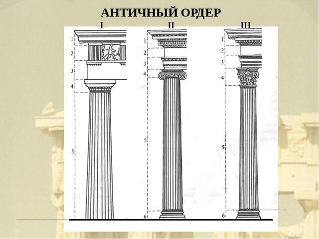 АНТИЧНЫЙ ОРДЕР I II III