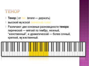 Тенор(отлат.tenere— держать) высокий мужскойпевческий голос Различают д
