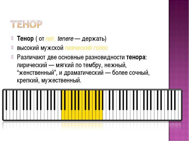 Тенор(отлат.tenere— держать) высокий мужскойпевческий голос Различают д...