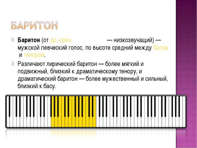 Баритон(отдр.-греч.βαρύτονος— низкозвучащий) — мужской певческий голос, п...
