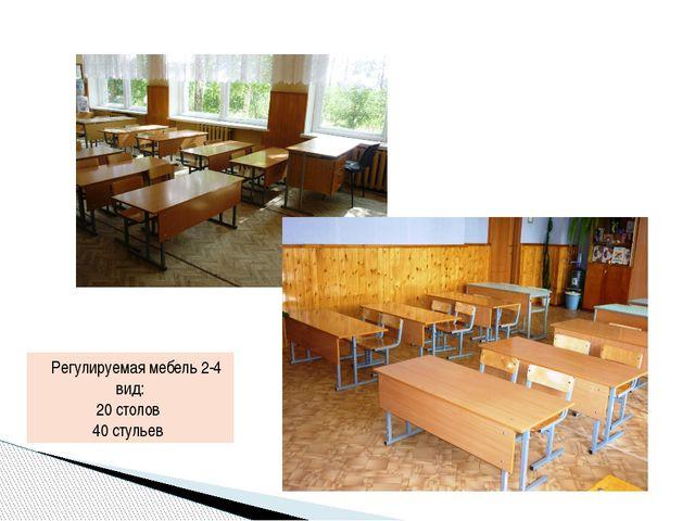 Регулируемая мебель 2-4 вид: 20 столов 40 стульев