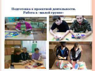 Подготовка к проектной деятельности. Работа в «малой группе»