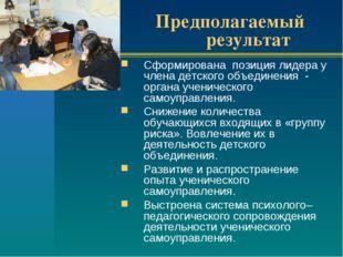 Предполагаемый результат Сформирована позиция лидера у члена детского объедин