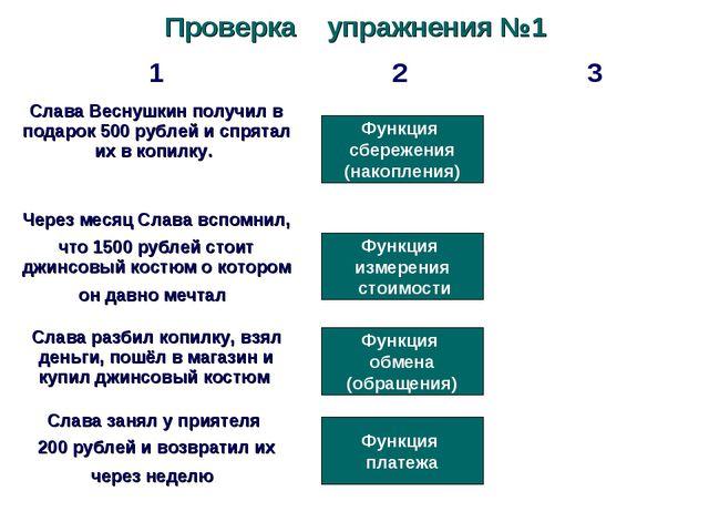 Проверка упражнения №1 Функция сбережения (накопления) Функция измерения стои...