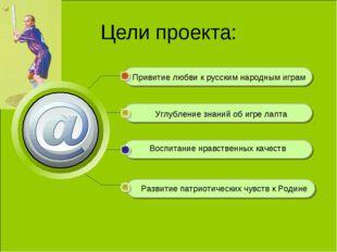 Цели проекта: Привитие любви к русским народным играм Углубление знаний об иг