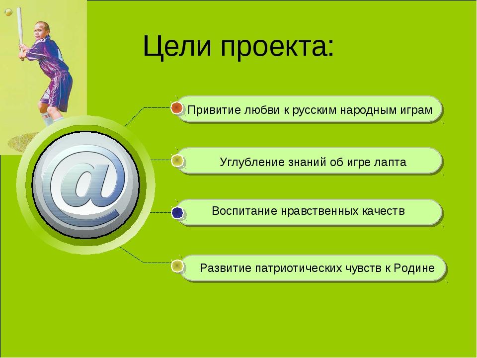 Цели проекта: Привитие любви к русским народным играм Углубление знаний об иг...