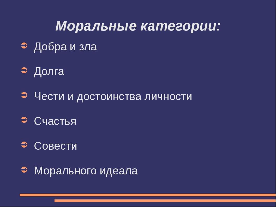 Моральные категории: Добра и зла Долга Чести и достоинства личности Счастья С...