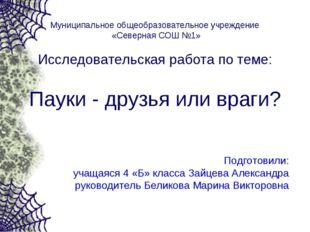 Муниципальное общеобразовательное учреждение «Северная СОШ №1» Исследовательс