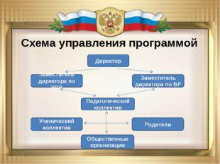 Схема управления программой Директор Заместитель директора по УВР Педагогичес