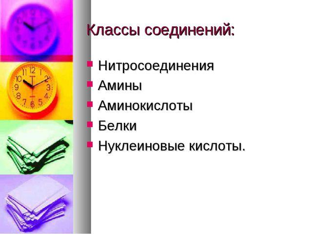 Классы соединений: Нитросоединения Амины Аминокислоты Белки Нуклеиновые кисло...