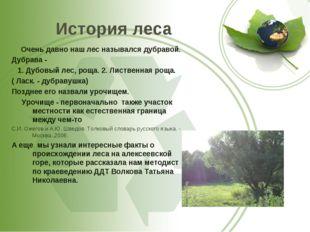 История леса Очень давно наш лес назывался дубравой. Дубрава - 1. Дубовый лес
