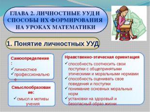1. Понятие личностных УУД ГЛАВА 2. ЛИЧНОСТНЫЕ УУД И СПОСОБЫ ИХ ФОРМИРОВАНИЯ