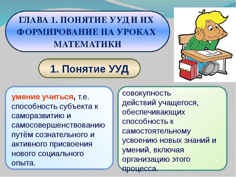 1. Понятие УУД ГЛАВА 1. ПОНЯТИЕ УУД И ИХ ФОРМИРОВАНИЕ НА УРОКАХ МАТЕМАТИКИ у...