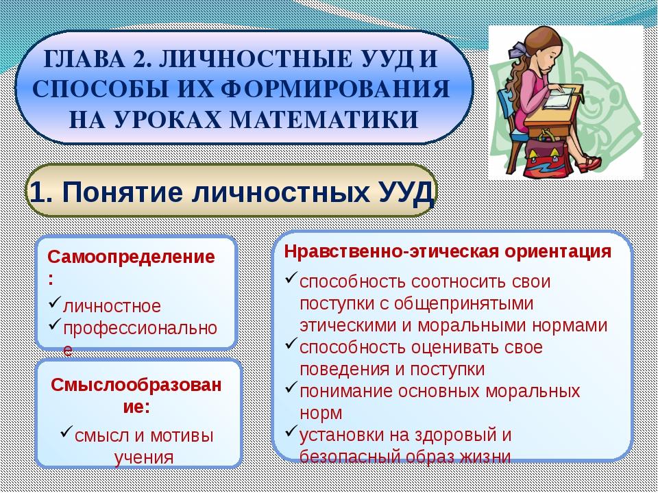 1. Понятие личностных УУД ГЛАВА 2. ЛИЧНОСТНЫЕ УУД И СПОСОБЫ ИХ ФОРМИРОВАНИЯ...