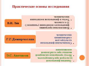 Практические основы исследования