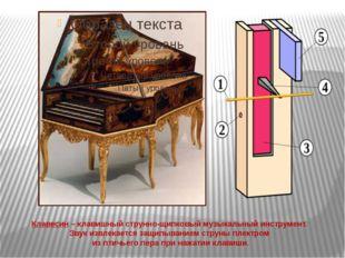 Клавесин – клавишный струнно-щипковый музыкальный инструмент. Звук извлекает