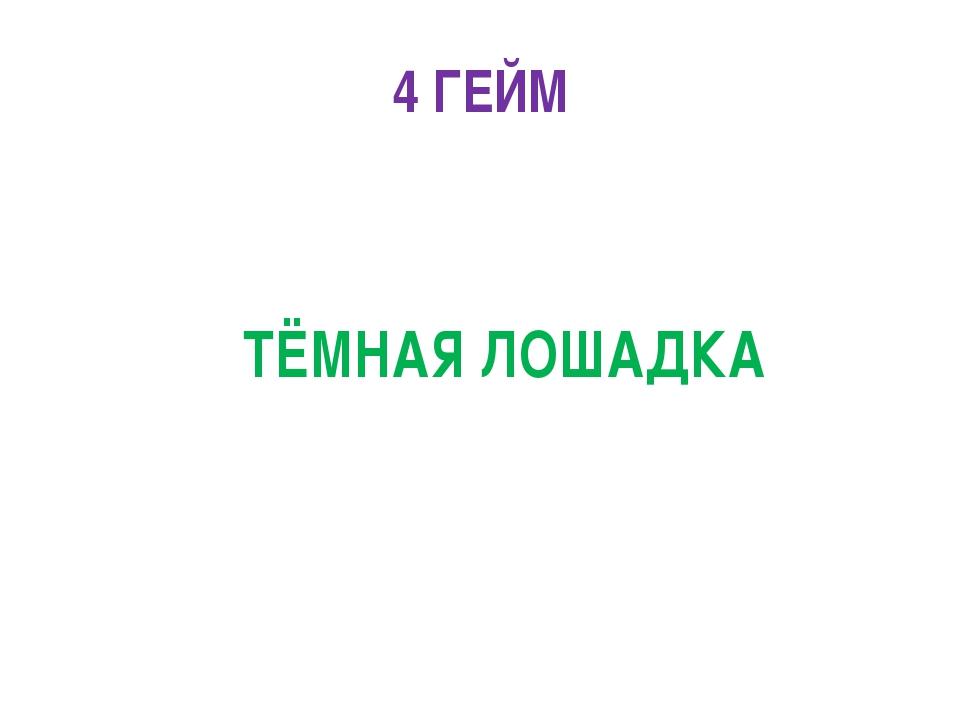 4 ГЕЙМ ТЁМНАЯ ЛОШАДКА