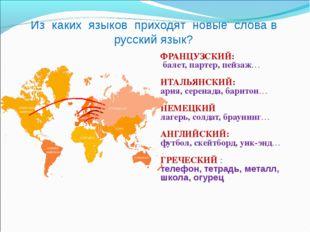 Из каких языков приходят новые слова в русский язык? ФРАНЦУЗСКИЙ: балет, парт